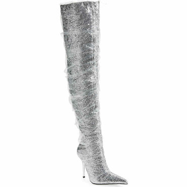 Jeffrey Campbell Gamora Silver Sparkle Thigh High Pointed Toe Boot Size 7.5