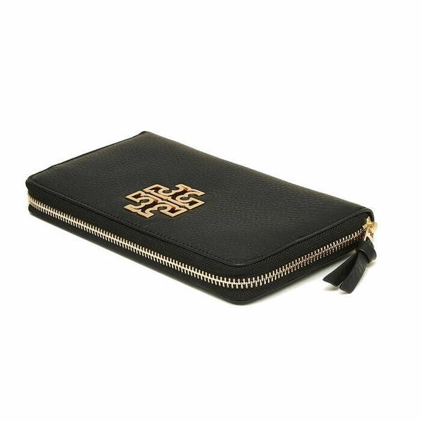 Tory Burch Britten Zip Continental Black Pebble Leather Zip Around Wallet