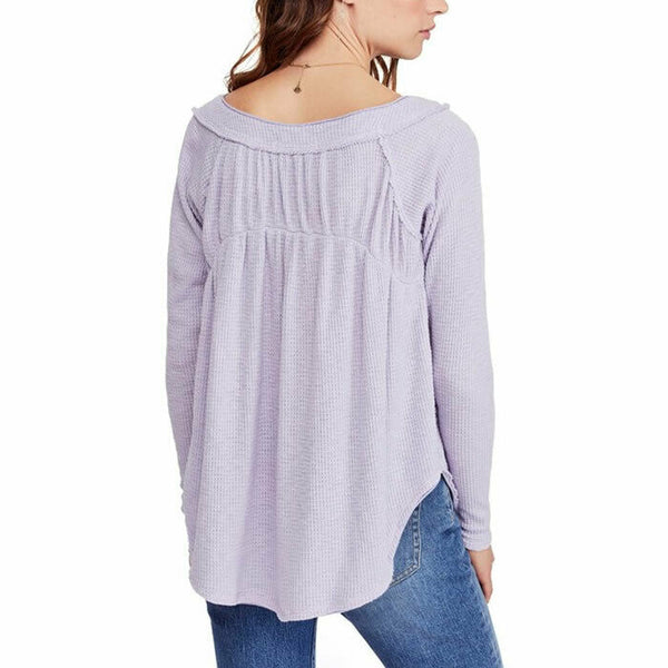 Free People Must Have Henley Liliac Long Sleeve Thermal Waffle Knit Top Size M