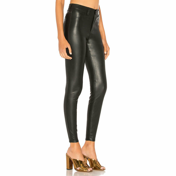 Free People Black Vegan Leather Long & Lean High Waist Leggings Size 26