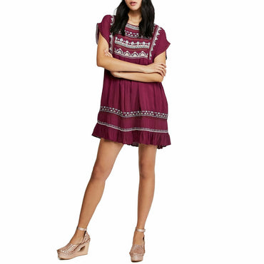 Free People Sunrise Wanderer Mini Boho Dress Plum Size Small
