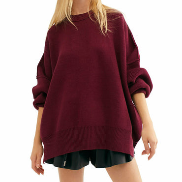 Free People Easy Street Boho Tunic Sweater Pomegranate Size L