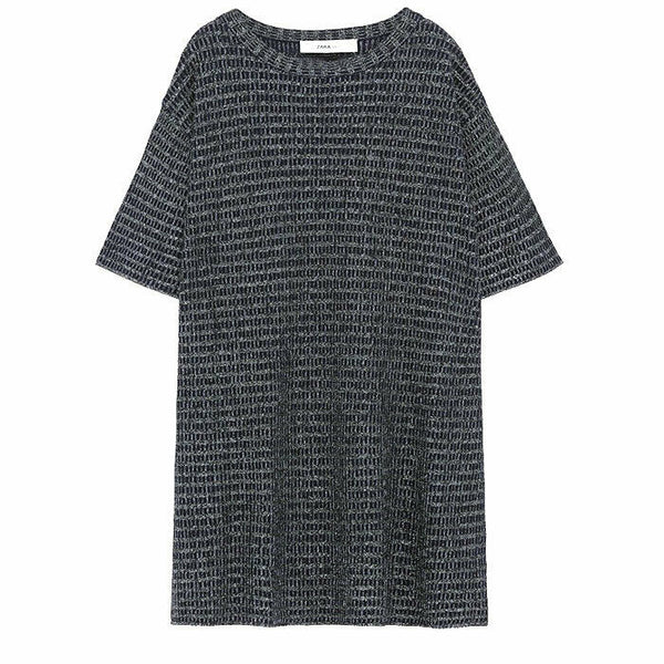 Zara Metallic Weave Knit Tunic Top Size M