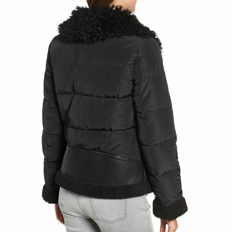 Bernardo Women's Black Faux Leather Shearling Hybrid Jacket Size Large $200