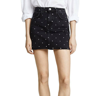 Current/Elliott The 5 Pocket Polka Dot Denim Jean Mini Skirt Size 27 $228