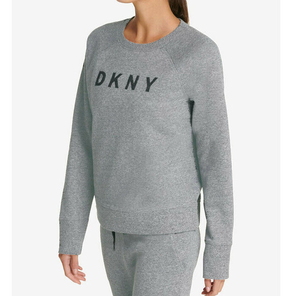 DKNY Sport Gray Long Sleeve Active Fleece Graphic Logo Sweatshirt Womens Size XL