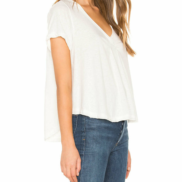Free People White All You Need Tee Oversize V Neck Short Sleeve T Shirt Size L