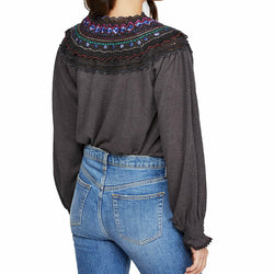Free People Womens Black Siesta Fiesta Boho Top Size S