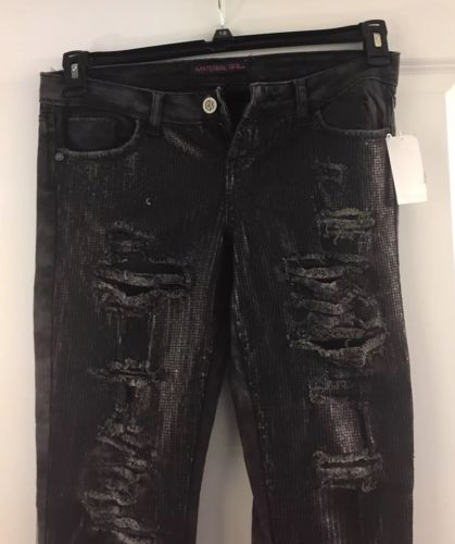 Material Girl Distressed Skinny Jeans with Sequins Size 11