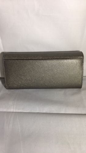 New Michael Kors Jet Set Travel Carryall Leather Wallet Nickel NWT
