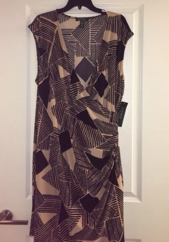 New Ralph Lauren Black and Tan Wrap Style Dress Plus Size 3X