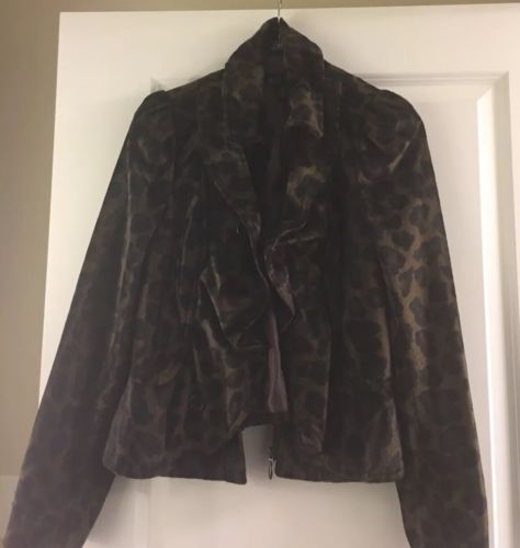 INC  Jungle Print Faux Fur Jacket Size L