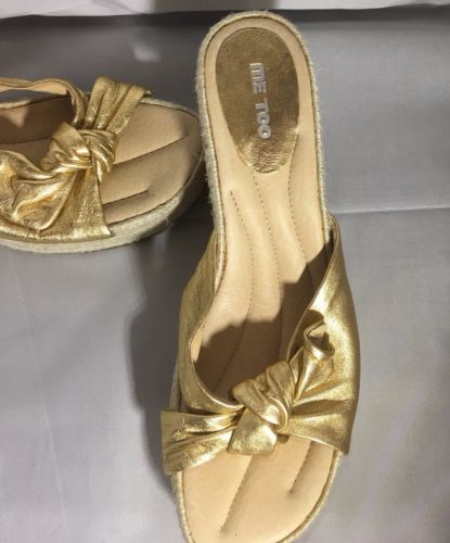 Me Too Ranch Gold Wedge Sandal Size 8