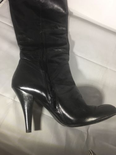 Nine West Distressed Black Leather Knee Boots Size 9