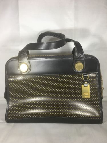 DOONEY & BOURKE CABRIO CABRIOLET PERFORATED DOT ZIP VINTAGE BLACK LEATHER BAG