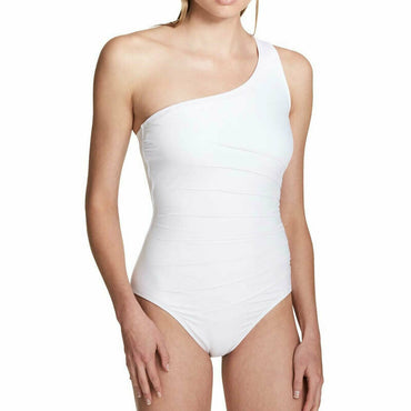 Calvin Klein Womens White One-Shoulder Starburst One-Piece Swimsuit Size 6