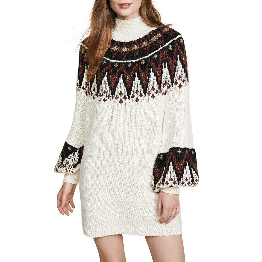 Free People Womens Ivory Boho Scotland Sweater Mini Dress