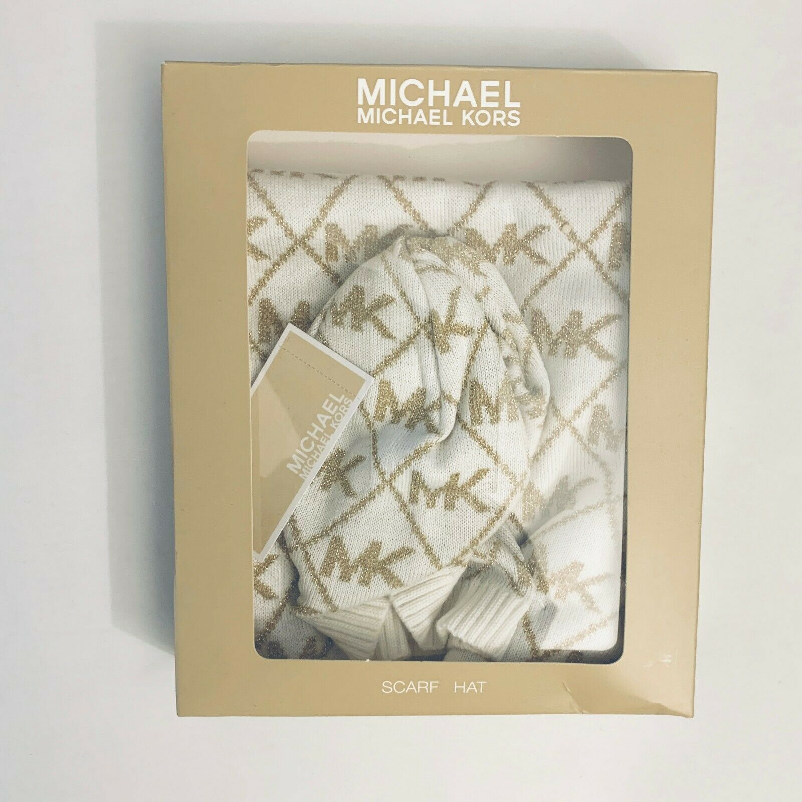 Michael Kors Womens Michael Kors White and Gold Hat and Scarf Gift Set