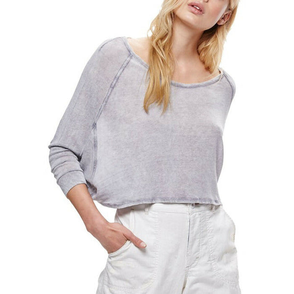 Free People Women's Nashville Navy Linen Blend Tee Size M NWT