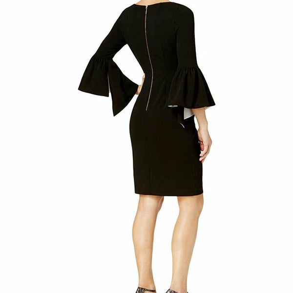 Calvin Klein Black Ruffle Colorblock Bell Sleeve Sheath Dress Size 8