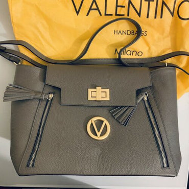 Valentino By Mario Valentino Gray Leather Camilla Dollaro Bag MSRP $1095