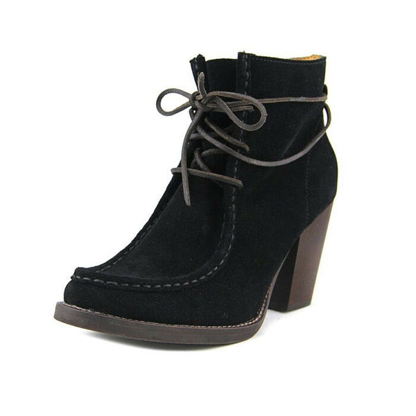 Latigo Frieda Black Suede Lace Up Booties Boots Size 7.5