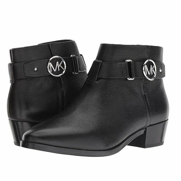 Michael Kors Women's Harland Black Leather Logo Charm Bootie Ankle Boots Size 7
