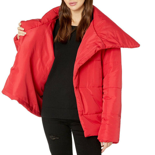 Romeo & Juliet Couture Asymmetrical Red Puffer Coat Jacket Size M