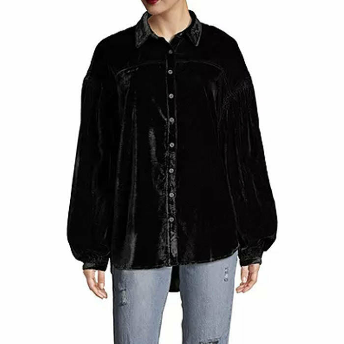 Free People La Luna Black Velvet Button Down Long Balloon Sleeve Blouse Size S