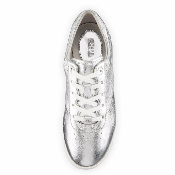 Michael Kors Addie Metallic Silver Leather Low-Top Fashion Sneakers Size 9.5