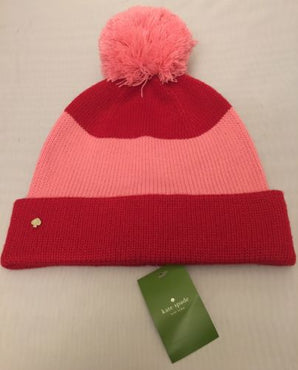 Kate Spade New York Color Block Knitted Pom Pom Beanie Red/Pink NWT
