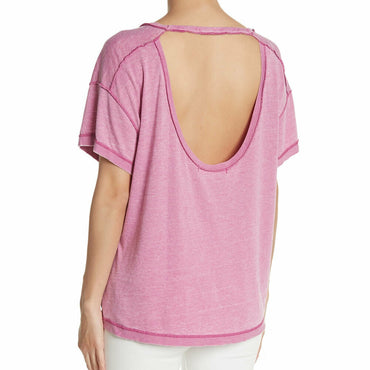 Free People We The Free All Mine Tee in Pink Electric Bloom Open Back Size M NWT
