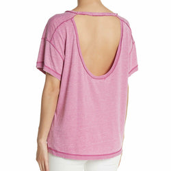 Free People All Mine Tee in Pink Electric Bloom Open Back Size XS NWT
