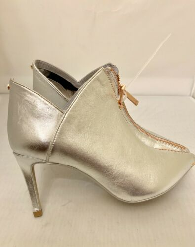 Ted Baker Millae Metallic Silver Leather Bootie Size 9