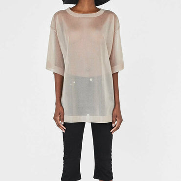 Zara Gold Metallic Sheer Knit Layering Short Sleeve Top Size L