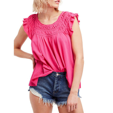 Free People Womens Coconut Gathered Ruffle Sleeve Pink Boho Knit Top Size M