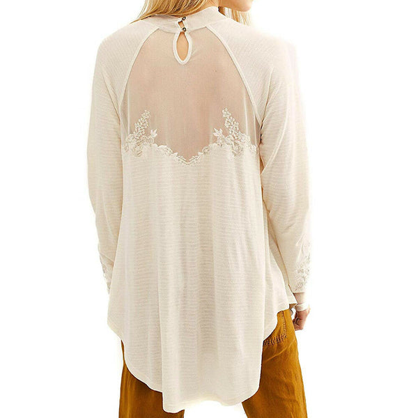 Free People Saheli Boho Mesh Embroidery Inset Tunic Top $88 OB877344