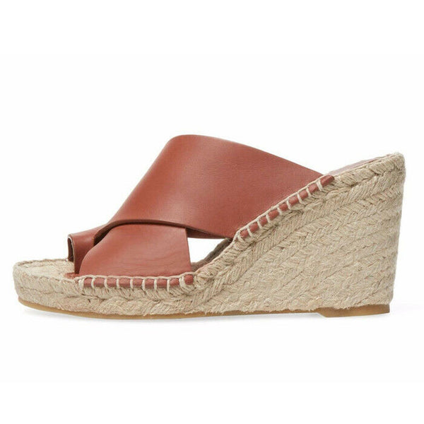 Vince Suraya Leather Espadrille Whiskey Wedge Sandal Size 8 $295