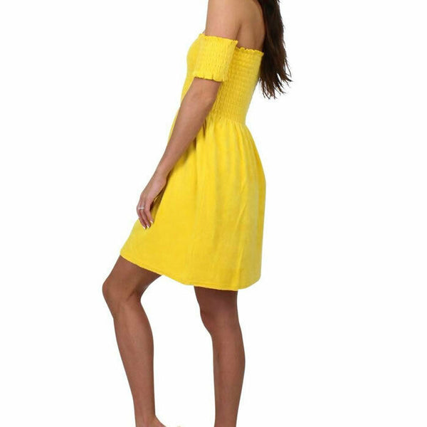 Juicy Couture Womens Yellow Off The Shoulder Smocked Terry Sun Mini Dress Size M