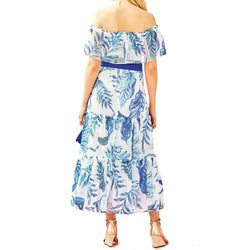 Lilly Pulitzer Sona Off-The-Shoulder Eyelet Tiered Midi Sun Dress Size M $278