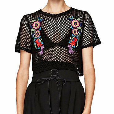Zara Black Mesh Floral Crop Top Size S