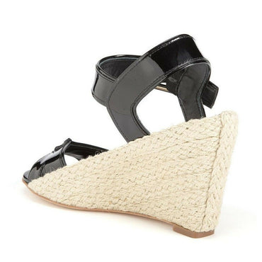 Diane von Furstenberg Sudan Black Leather Espadrille Wedge Sandal $250 Size 8.5