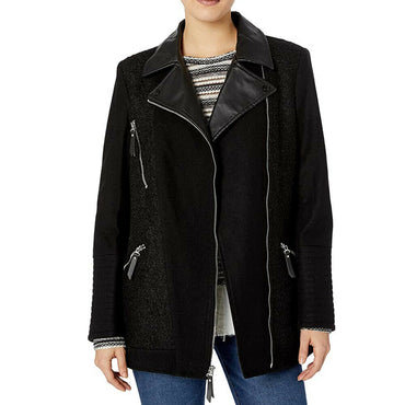 Kensie Asymmetrical Zip Wool Blend Coat Jacket With Faux Leather Details Size M