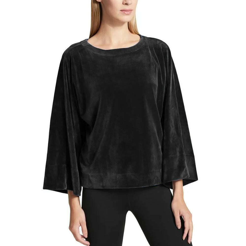 DKNY Sport Womens Black Velour Pullover Kimono Sleeve Top Size L $79