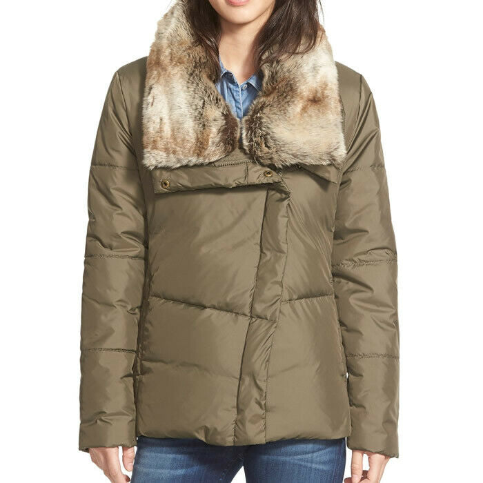 14b40f0a524 Hawke & Co. Womens Green Asymmetrical Puffer Style Down Jacket Size Size M