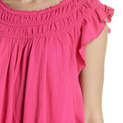 Free People Womens Coconut Gathered Ruffle Sleeve Pink Boho Knit Top Size XS
