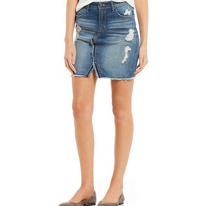 Jessica Simpson Womens Adorn Blue Distressed High-Waist Denim Mini Skirt Size 32