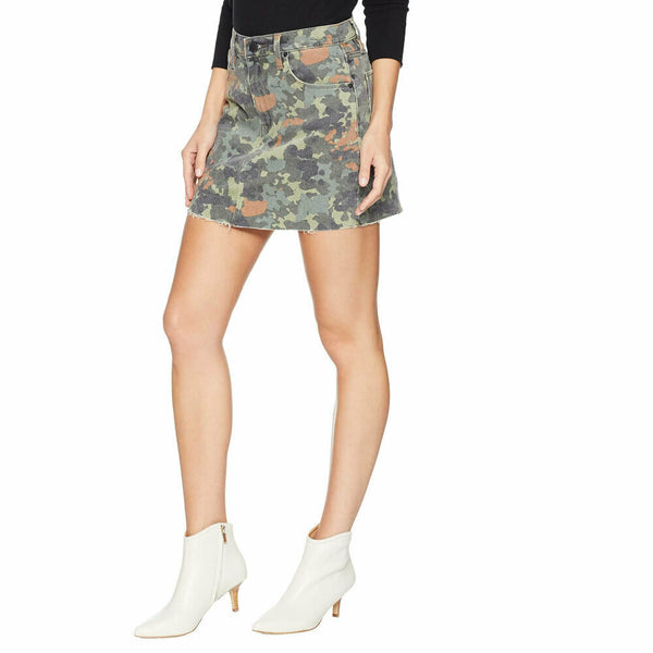 Hudson Jeans Womens The Viper Stretch Denim Jean Mini Skirt in German Camo