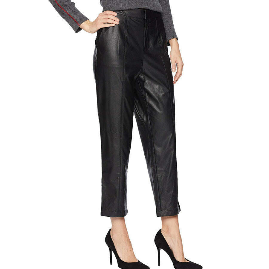 1.State Black Slim Leg Faux Leather Cropped Ankle Pants Size L