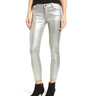 DL1961 Florence Instasculpt Cropped Coated Skinny Stretch Silver Jeans Size 27